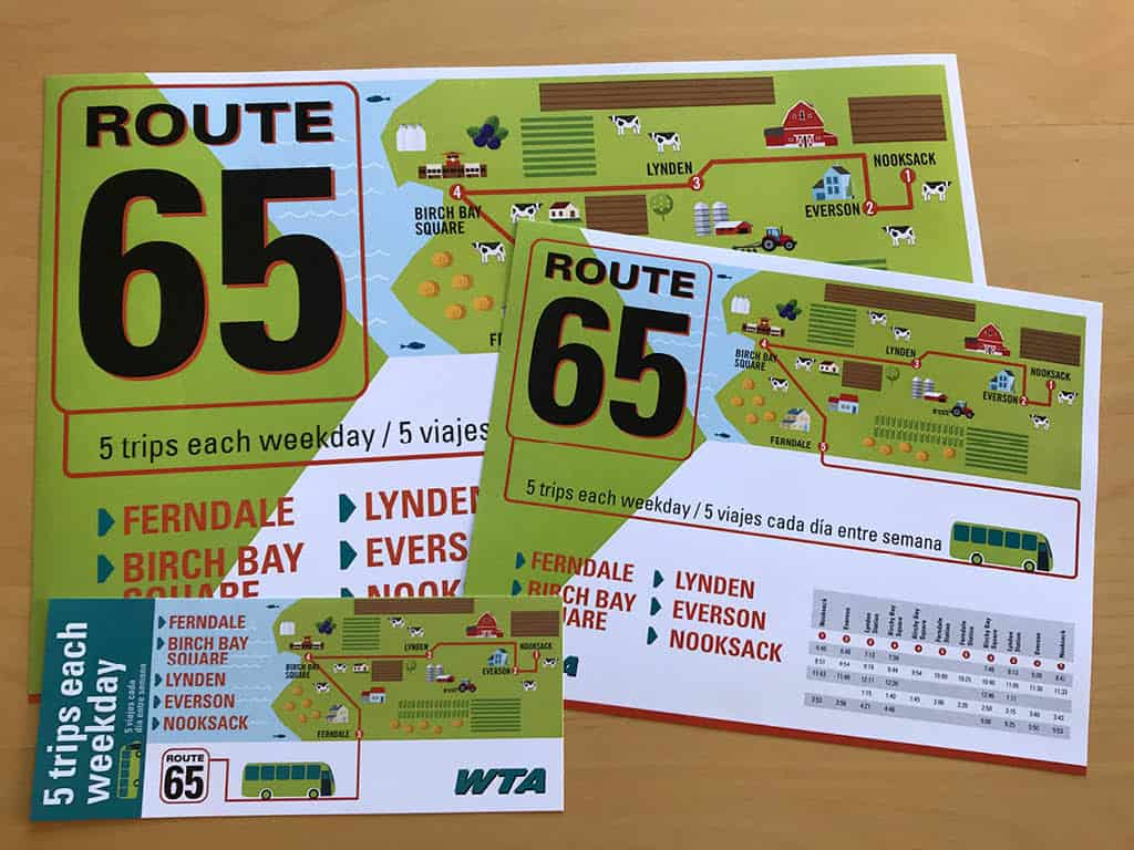 Whatcom Transportation Authority Route 65 campaign collateral design by Shew Design, branding & web design